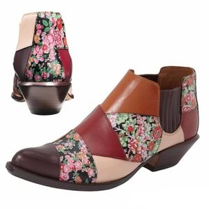 NEW Coach Floral patchwork boho ankle booties neutral- tone slip-on size 7 NWOT